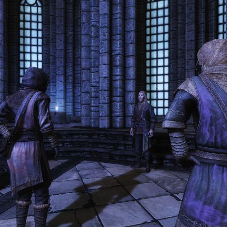Toldfir giving a lecture in the Hall of Elements, College of Winterhold